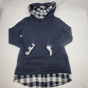 NWOT EA Selection navy check trim hoodie